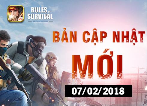 [Rules Of Survival] Chi tiết bản cập nhật ngày 07/02/2018