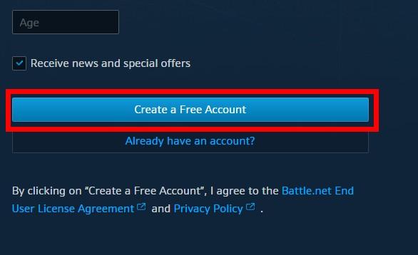 """Bước 3: Click vào nút """"Create a Free Account"""""""